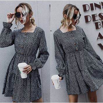Fashion and leisure 2020 long sleeve autumn dress with collar bone