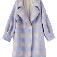Purple Lapel Plaid Long Sleeve Woolen Coat