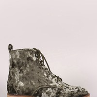 Qupid Velvet Round Toe Lace Up Combat Ankle Boots
