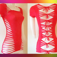 Junior / Womens Rose Red Cut Shirt  Sexy Cuts by LasciviousGrace
