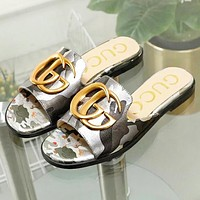 GUCCI New fashion GG letter shoes flip flop slippers
