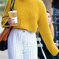 Yellow High Neck Cable Long Sleeve Chunky Knit Sweater
