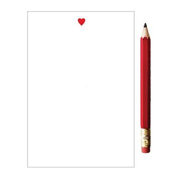 Red Heart Mini Notepad with Red Pencil