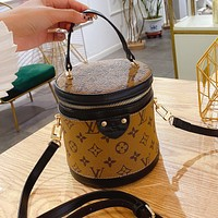 Louis Vuitton LV Stitching Color Crossbody Bag Ladies Handbag Cylindrical Bag Cosmetic Bag