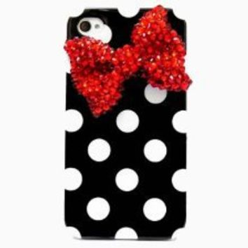 OOOUSE IP4ZQ Bling Crystal Polka Dot Black White Red Bow Hard Back Case Cover iphone 4 4G 4S