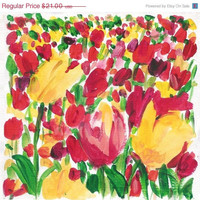 CIJ Sale Tulips field Study Art Print of original acrylic on paper painting colorful , limited edition, bright colors, mothers day