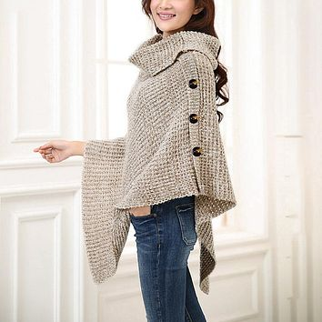 Knitted turtleneck cloak sweater Women Elegant button casual christmas pullover Oversize jumpers pull femme