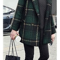 Hunter Green Black White Plaid Long Sleeve Double Breasted Button Wool Coat