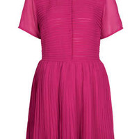 Chiffon Pleat Shirt Dress