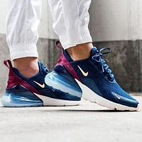 Nike Air Max 270 Fashionable Women Men Casual Sport Running Shoes Sneakers Navy Blue