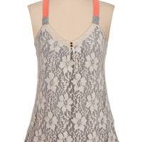Contrast strap lace front tank