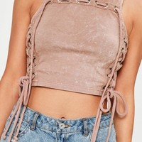 Missguided - Pink Lace Up Eyelet Detail Washed Vest