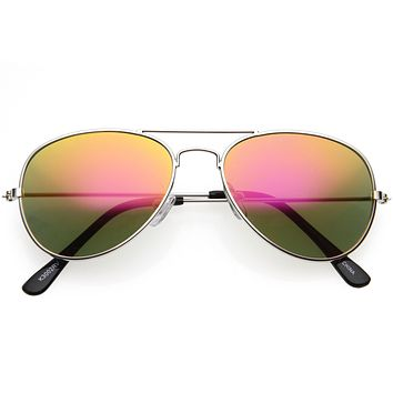 Kids Classy Mirrored Lens Metal Aviator Sunglasses D140