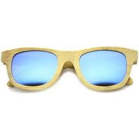 Bamboo Wood Polarized Mirror Lens Horned Rim Sunglasses 9121 + Case