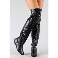 New Nature Breeze Vickie-HI Slouchy Thigh High Boot BLACK