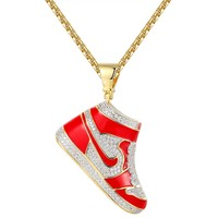 Red Sport Shoes Sterling Silver Iced Out Pendant Necklace