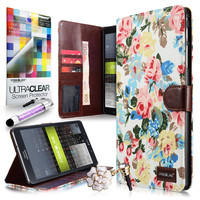 Rose Floral 2228 Canvas flip cover case, Samsung Tab Pro 8.4, White