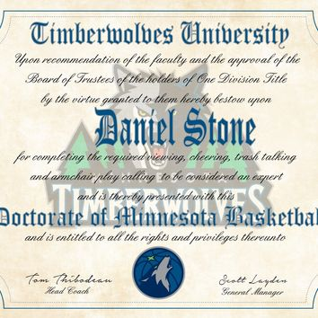 "Minnesota Timberwolves Ultimate Basketball Fan Personalized Diploma - 8.5"" x 11"" Parchment Paper"