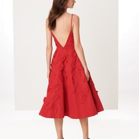 Leaf Embroidered Silk-Faille Cocktail Dress - Dresses - Ready-to-Wear