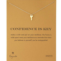 Dogeared Confidence Key Alloy Gold Plated Shorts Chains Clavicle Bib Necklace
