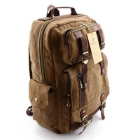 BLUBOON Rucksack Vintage Backpacks Canvas School Unisex Bags with Large Capacity for Outdoor/Hiking/College (Dark Khaki)