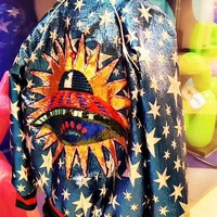 ONETOW Women Fashion Multicolor Planet Embroidery Sequin Baseball Clothes Long Sleeve Zip Cardigan Jacket Coat