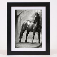 Horse pencil drawing fine art PRINT, beautiful home decor of drawn black horse standing before forest