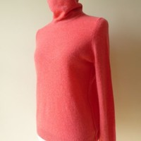 White + Warren luxury cashmere coral long sleeve turtleneck sweater, size S, EUC