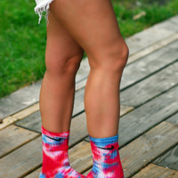 Red White and Blue Tie Dye Nike Crew Socks
