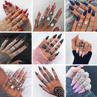 Tocona Bohemia Antique Gold Silver Elephant Flower Rose Heart Crown Carved Rings Set Knuckle Finger Midi Ring for Women Jewelry