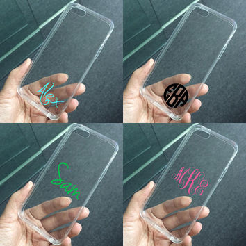 Transparent clear case for iPhone 6, iPhone 6 Plus, iPhone 5C 5S 5 4 4S case, personalized monogram name custom made plastic case tpu edge