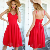 Red Spaghetti Strap Backless Zip Back Midi Dress