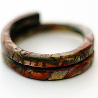 Rugged Heat Colored Copper Band Ring, Simple Band, Thick, Hammered, Heat Torched Metal Ring