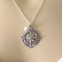 Compass, Pearl, Silver, Necklace, Simple, Jewelry, Necklace, Birthday, Necklace, Compass, Pendant, Charm, Gift, Jewelry
