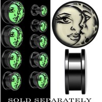 Celestial Sun Moon Glow in the Dark Screw Fit Plug in Black Anodized Titanium