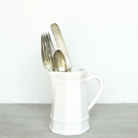 Vintage White Ironstone Creamer by jacquierae on Etsy