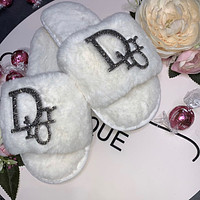 Dior hot sale classic diamond letter plush slippers sandals Shoes
