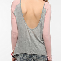 Urban Outfitters - Daydreamer LA 3/4 Sleeve Colorblock Scoop Back Tee