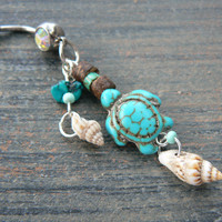 shell sea turtle belly ring  turquoise magnesite  shells turquoise  in tribal boho gypsy hippie belly dancer beach and hipster style