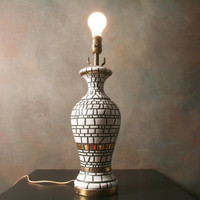 Vintage Mosaic Lamp with Black, White and Gold Tiles, Mid Century Table Lamp, Ceramic Lamp, Modern
