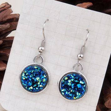 Druzy /Drusy Dangle Drop Earrings Silver Tone Blue AB Color Round