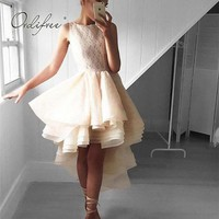 Ordifree Elegant Women Mesh Party Dress Asymmetrical Night Club Sleeveless Lace Tulle Dress