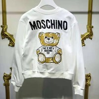MOSCHINO Hot Sale Women Casual Print Long Sleeve Round Collar Sweater Sweatshirt