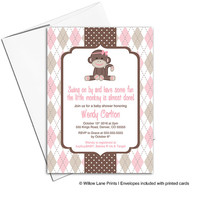 Brown and Pink Sock Monkey Baby Shower Invitation for Girls | Classic Baby Invite | Retro Monkey Shower | Cute Party - WLP00710
