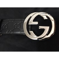 Gucci Mens Belt GG Size 90 GG Signature Leather Style Authentic New