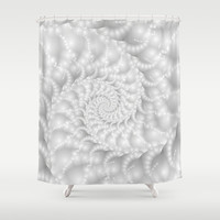 Mother of Pearl Beaded Spiral Fractal Shower Curtain by KittyBitty