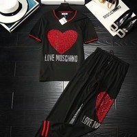 """Moschino"" Women Casual Fashion Hot Fix Rhinestone Letter Love Heart Pattern Short Sleeve Trousers Set Two-Piece Sportswear"