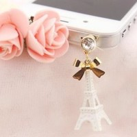 iPhone dust plug / accessories / smartphone / White Eiffel Tower with Bow charm Dust Plug / Dust Cap / Apple / iPhone / 3.5mm