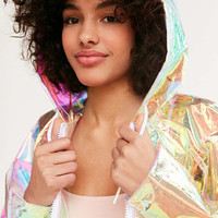 Light Before Dark Holographic Raincoat - Urban Outfitters