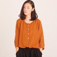 Cuff Long  Sleeve Blouse with Buttons Details